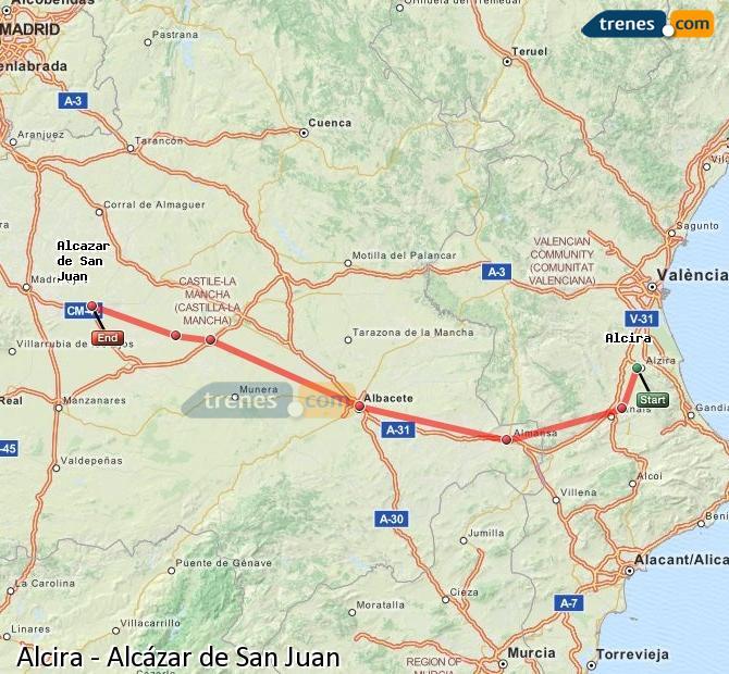 Enlarge map Trains Alcira to Alcazar de San Juan