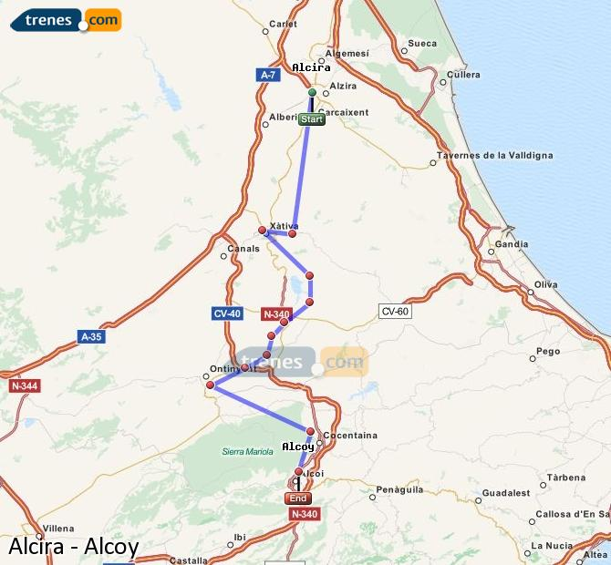 Enlarge map Trains Alcira to Alcoy