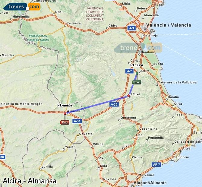 Enlarge map Trains Alcira to Almansa
