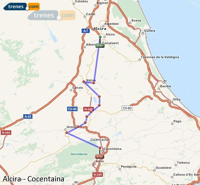 Enlarge map Trains Alcira to Cocentaina