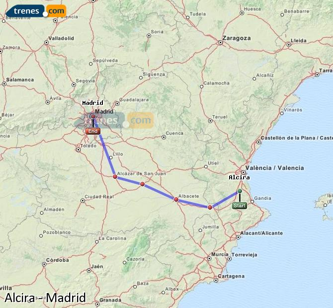 Enlarge map Trains Alcira to Madrid