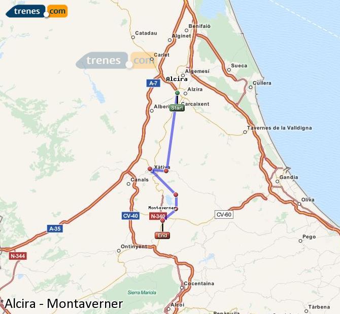 Enlarge map Trains Alcira to Montaverner