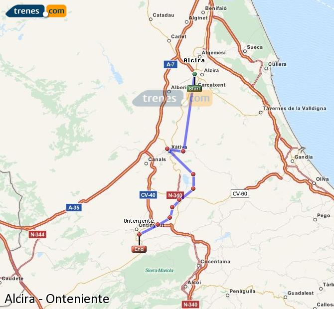 Enlarge map Trains Alcira to Onteniente