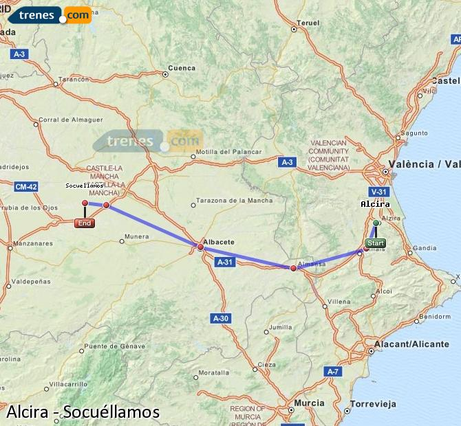 Ingrandisci la mappa Treni Alcira Socuéllamos