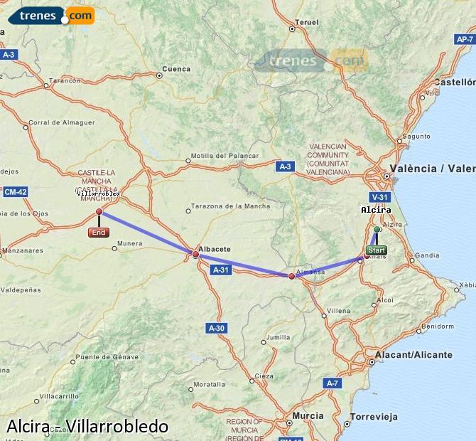 Enlarge map Trains Alcira to Villarrobledo