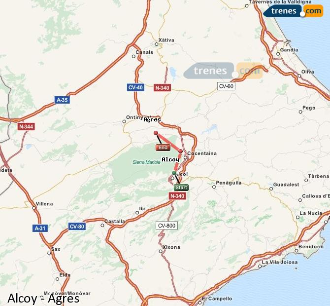 Enlarge map Trains Alcoy to Agres