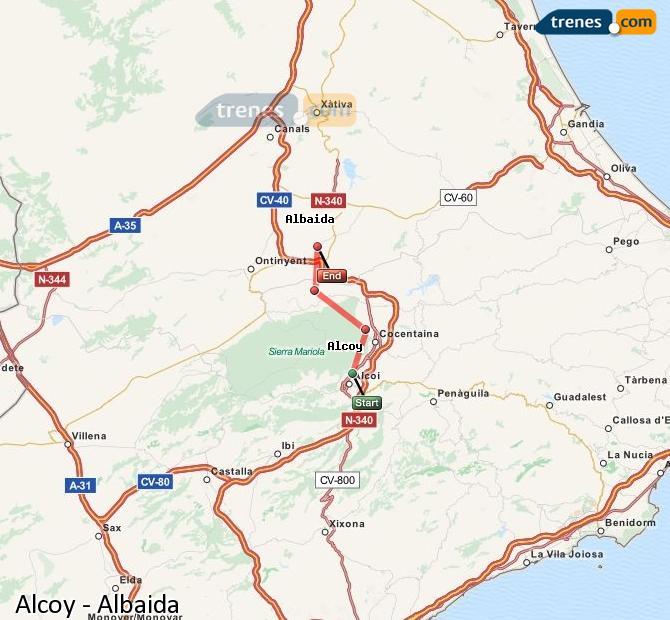 Enlarge map Trains Alcoy to Albaida