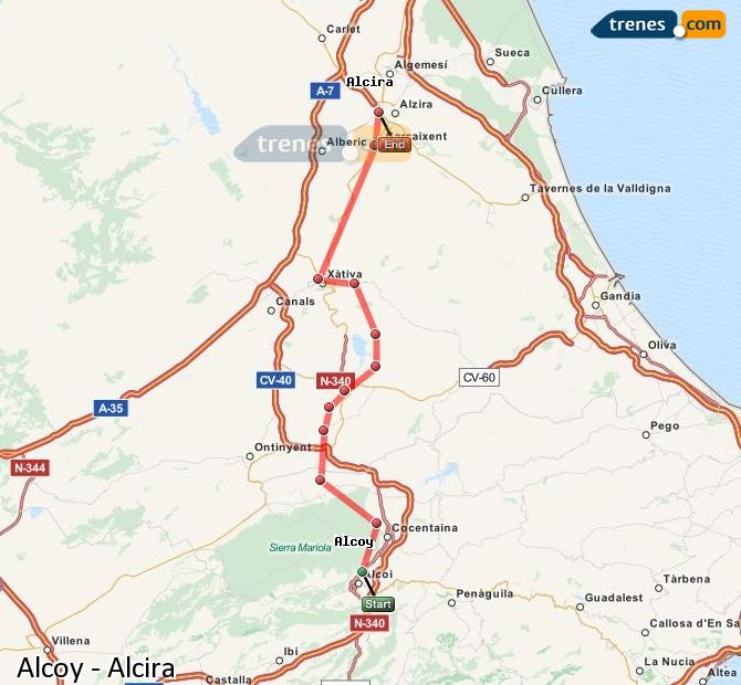 Enlarge map Trains Alcoy to Alcira