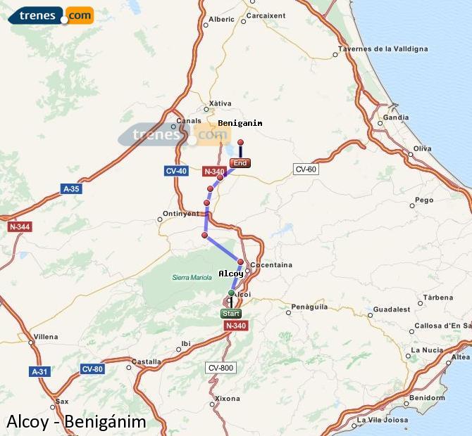 Enlarge map Trains Alcoy to Benigánim