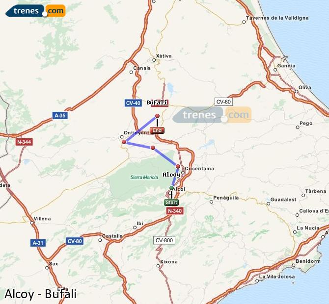 Enlarge map Trains Alcoy to Bufali