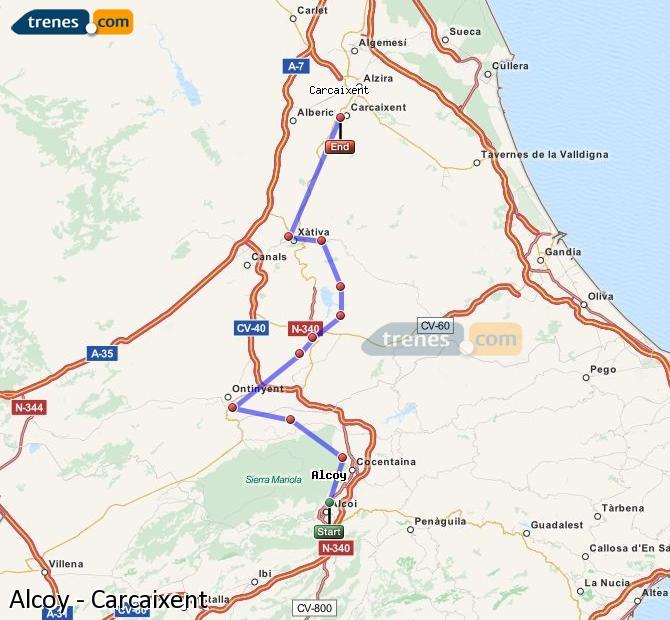 Ampliar mapa Trenes Alcoy Carcaixent