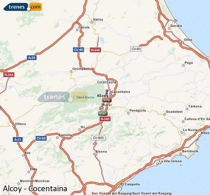 Karte vergrößern Züge Alcoy Cocentaina