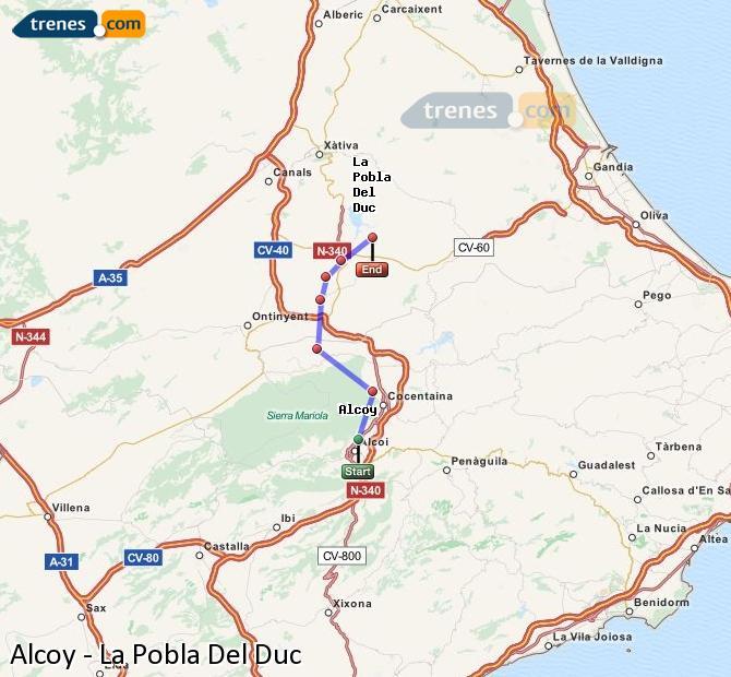 Enlarge map Trains Alcoy to La Pobla Del Duc