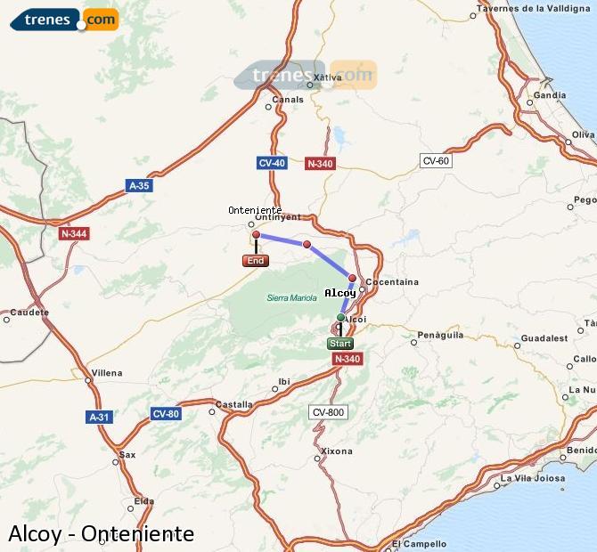 Ingrandisci la mappa Treni Alcoy Onteniente