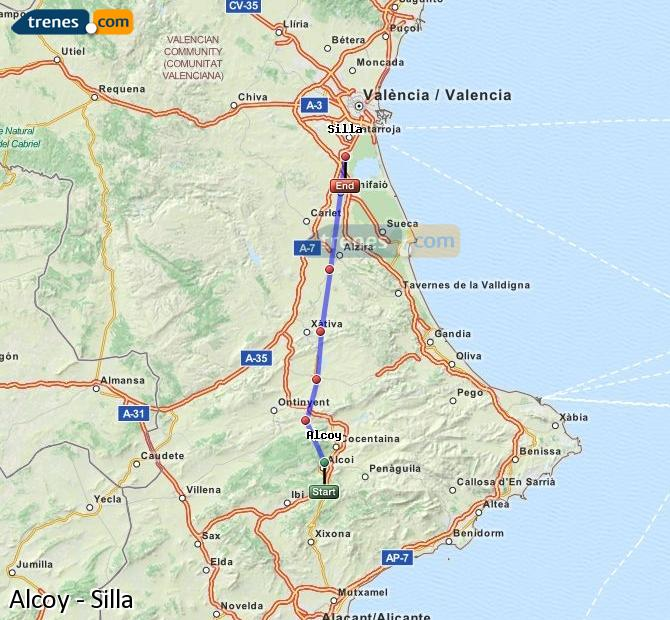 Enlarge map Trains Alcoy to Silla