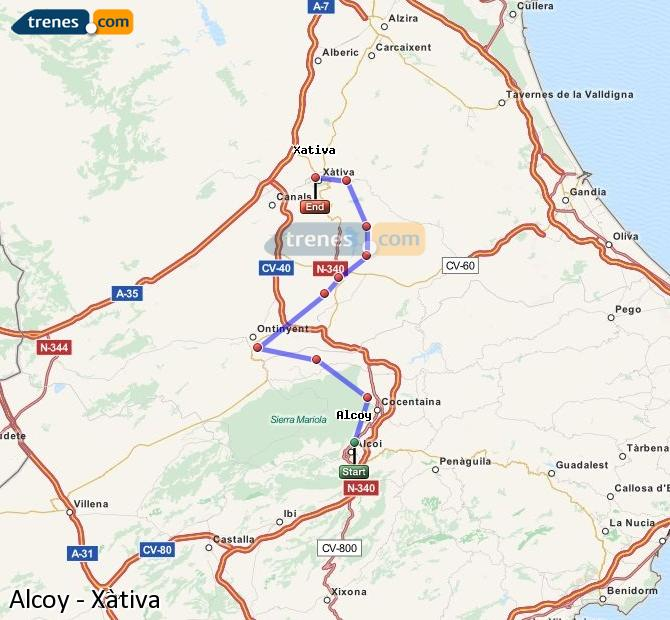 Enlarge map Trains Alcoy to Xativa