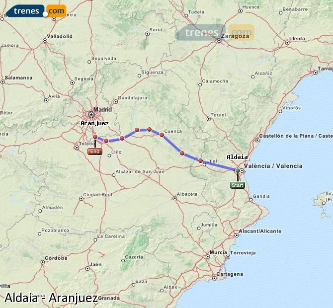 Enlarge map Trains Aldaia to Aranjuez