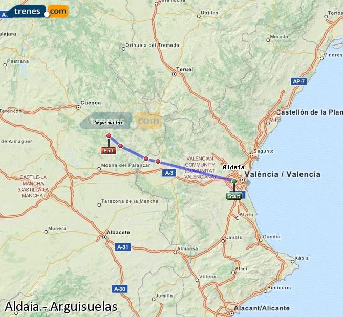 Karte vergrößern Züge Aldaia Arguisuelas