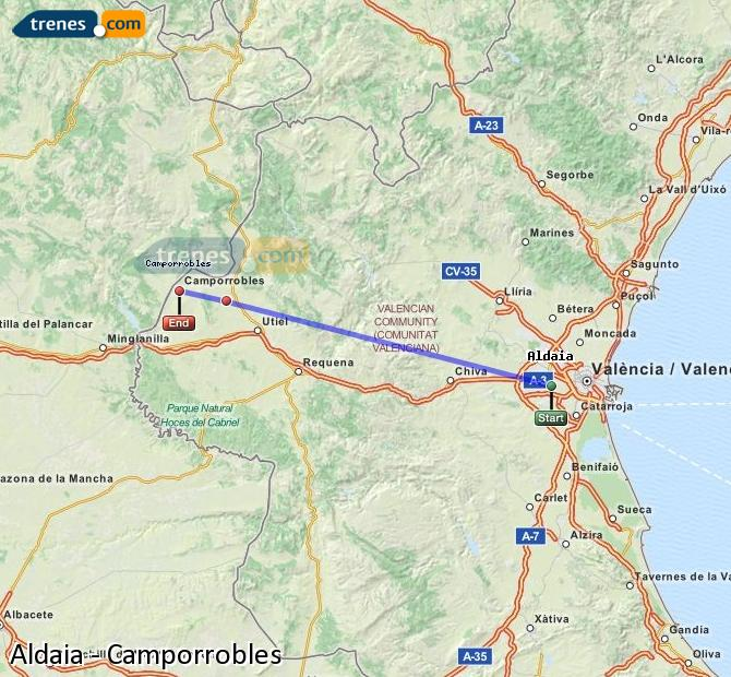 Enlarge map Trains Aldaia to Camporrobles