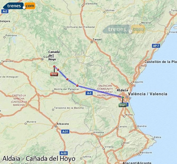 Enlarge map Trains Aldaia to Cañada del Hoyo