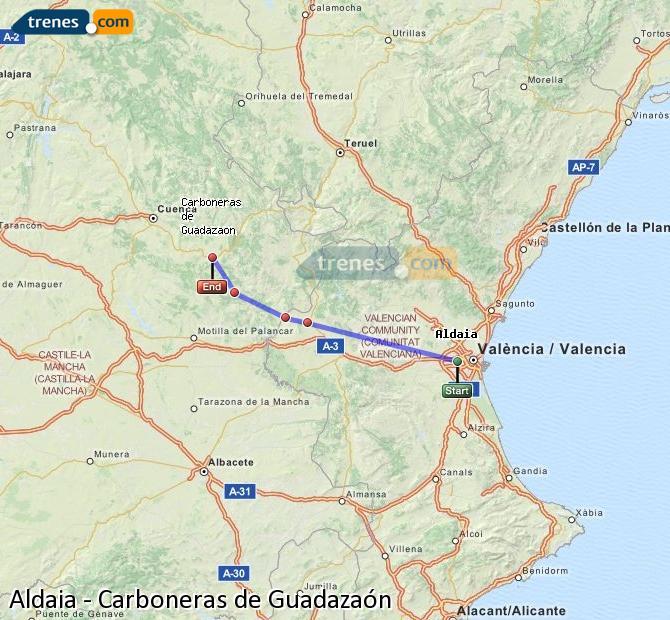 Enlarge map Trains Aldaia to Carboneras of Guadazaón