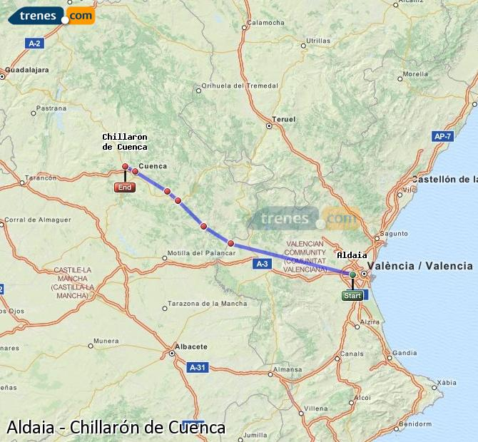 Enlarge map Trains Aldaia to Chillarón de Cuenca