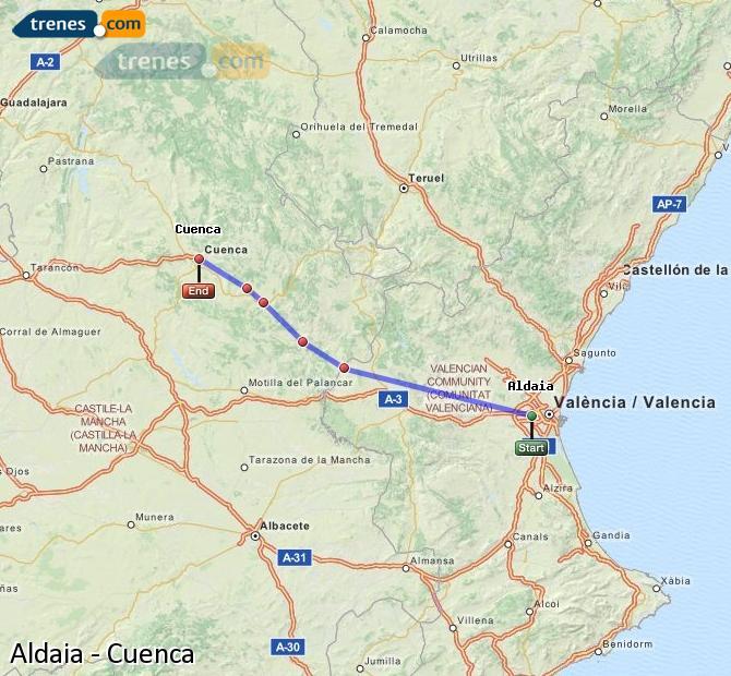 Enlarge map Trains Aldaia to Cuenca