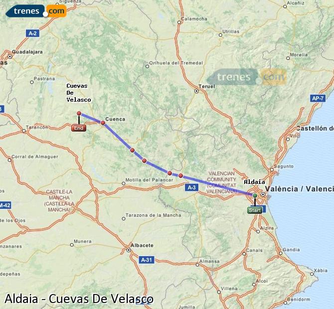 Enlarge map Trains Aldaia to Cuevas De Velasco