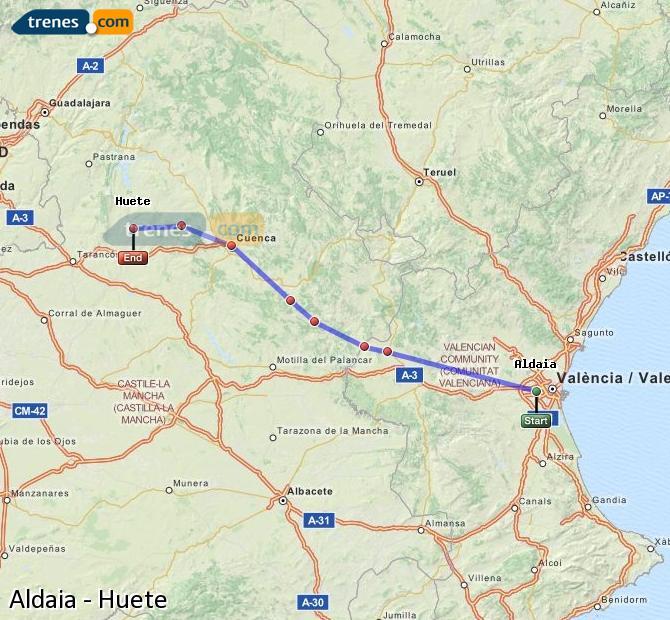 Ampliar mapa Comboios Aldaia Huete