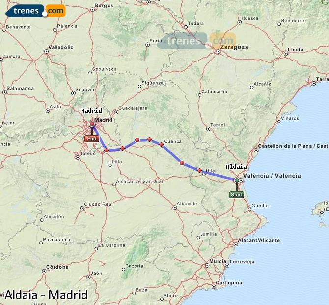 Enlarge map Trains Aldaia to Madrid