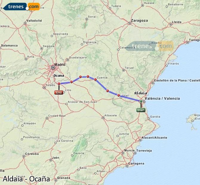 Ampliar mapa Comboios Aldaia Ocaña