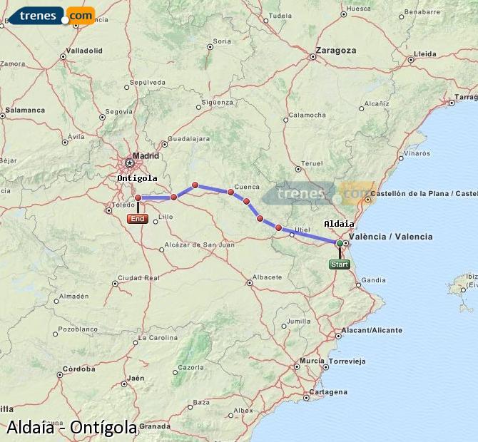 Agrandir la carte Trains Aldaia Ontígola