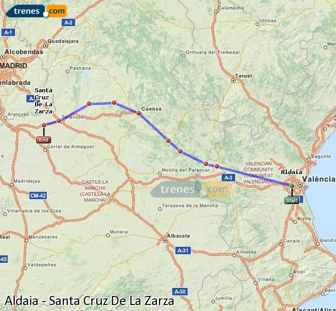 Ampliar mapa Comboios Aldaia Santa Cruz De La Zarza