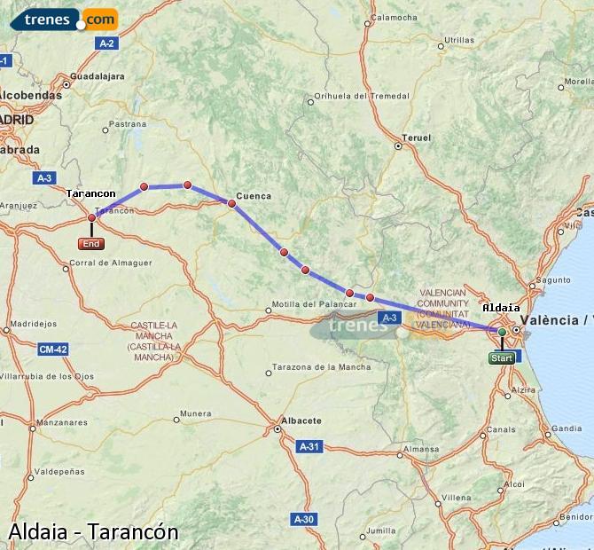 Karte vergrößern Züge Aldaia Tarancón