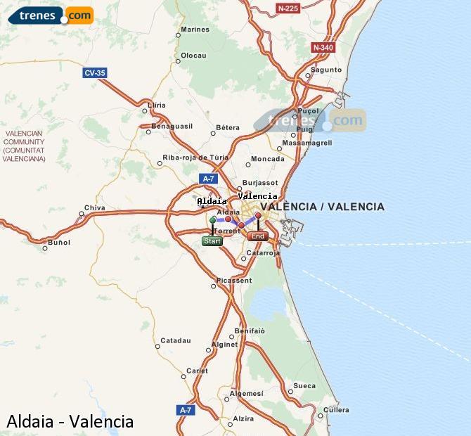 Ingrandisci la mappa Treni Aldaia Valencia