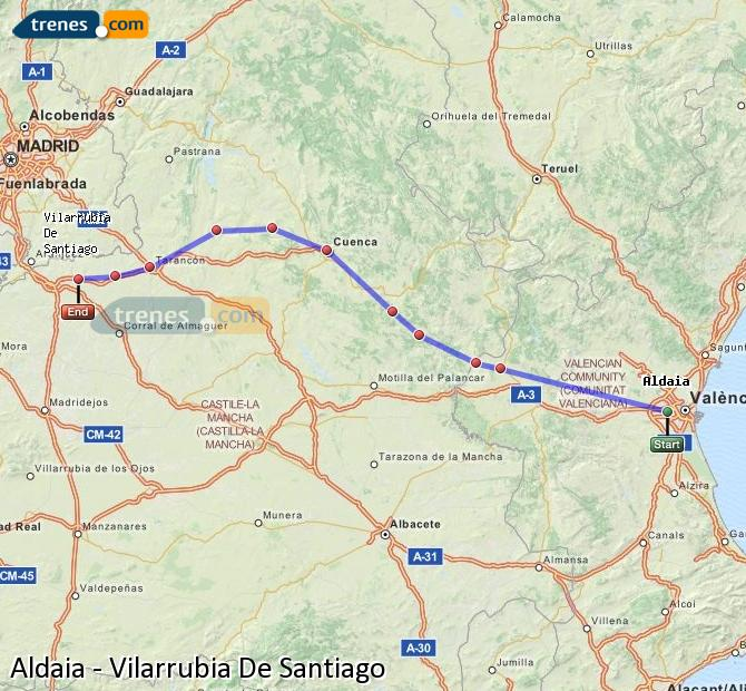 Enlarge map Trains Aldaia to Vilarrubia De Santiago