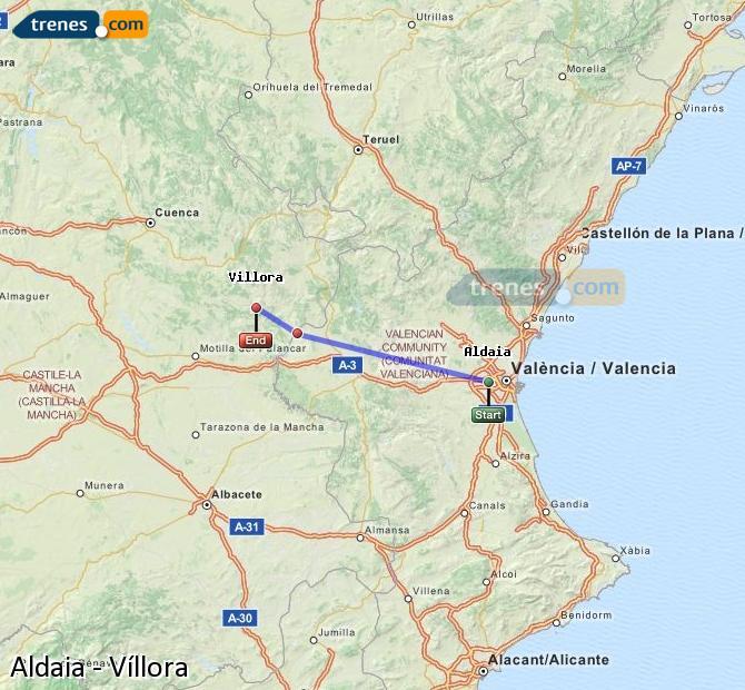 Ingrandisci la mappa Treni Aldaia Víllora