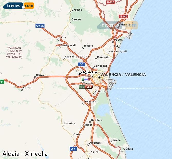 Enlarge map Trains Aldaia to Xirivella