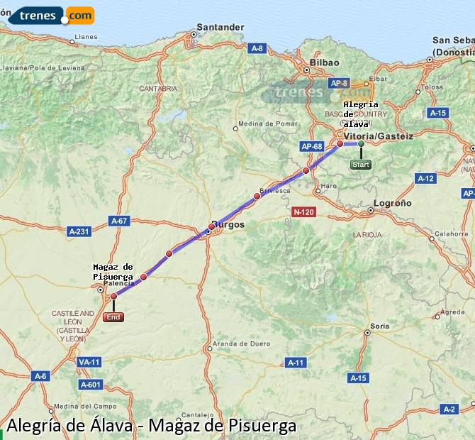 Ingrandisci la mappa Treni Alegría de Álava Magaz de Pisuerga