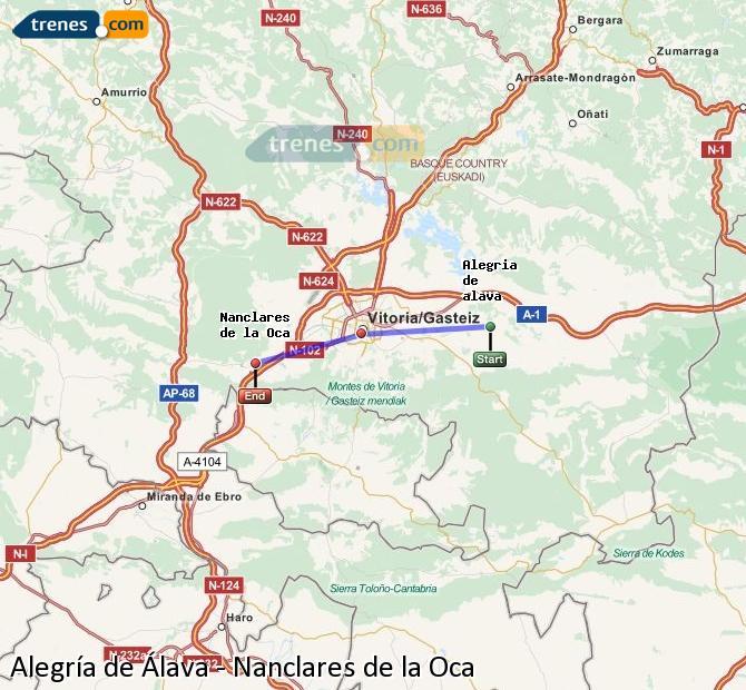 Enlarge map Trains Alegría de Álava to Nanclares de la Oca
