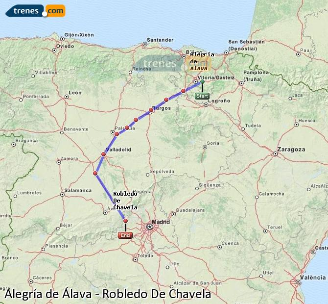 Enlarge map Trains Alegría de Álava to Robledo De Chavela