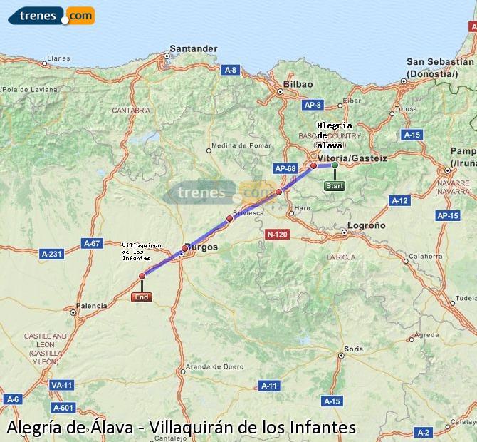 Karte vergrößern Züge Alegría de Álava Villaquirán de los Infantes