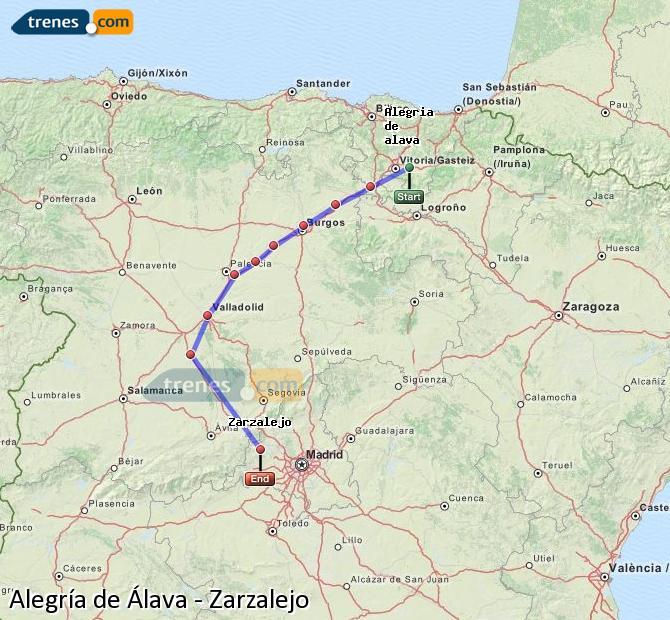 Karte vergrößern Züge Alegría de Álava Zarzalejo