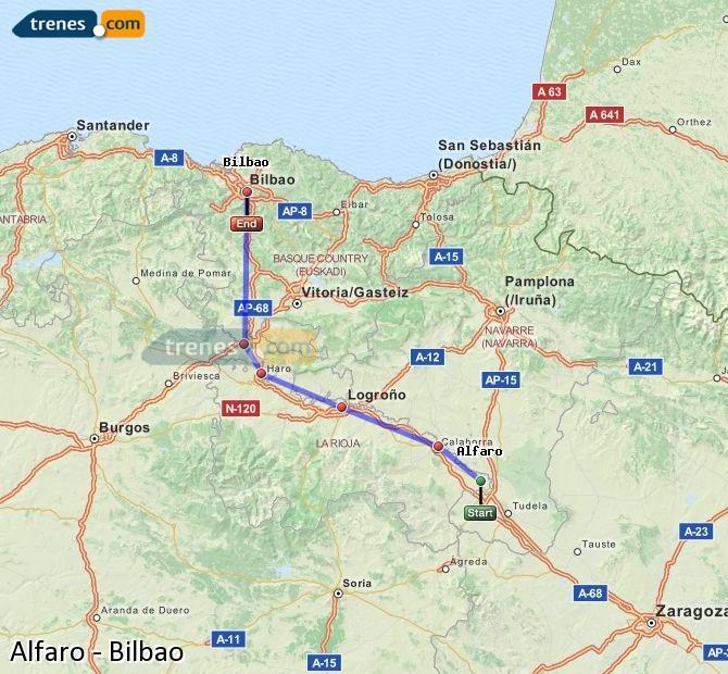 Agrandir la carte Trains Alfaro Bilbao