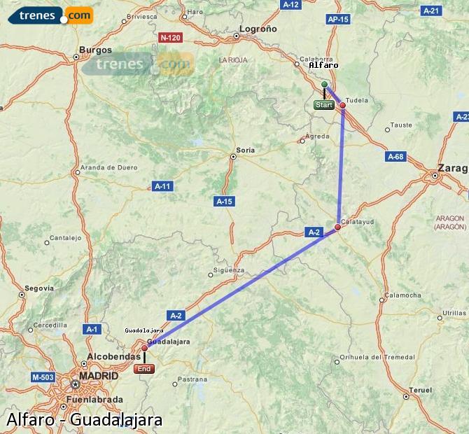 Agrandir la carte Trains Alfaro Guadalajara