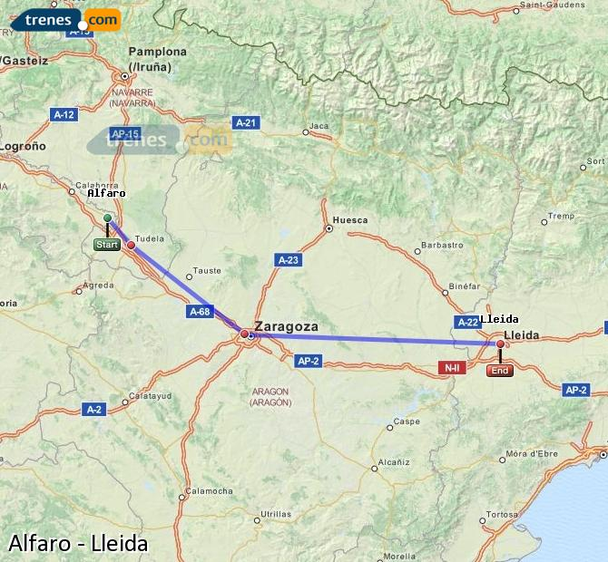 Agrandir la carte Trains Alfaro Lleida