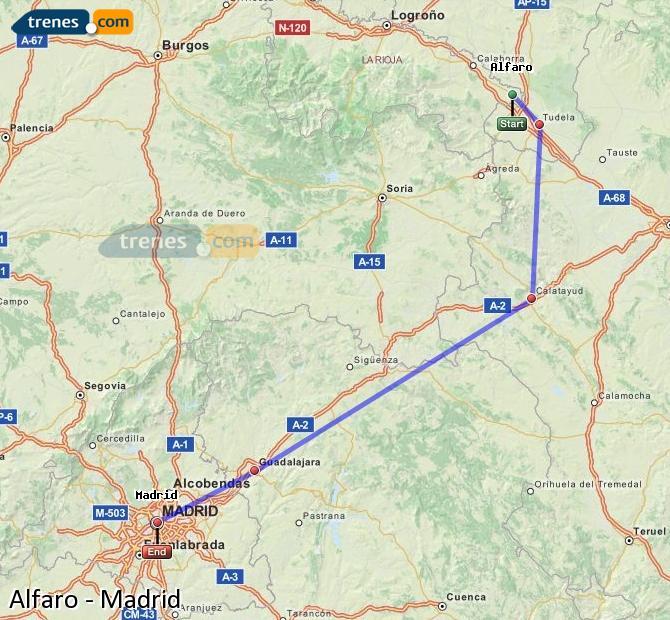 Agrandir la carte Trains Alfaro Madrid