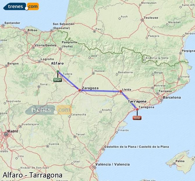 Agrandir la carte Trains Alfaro Tarragone