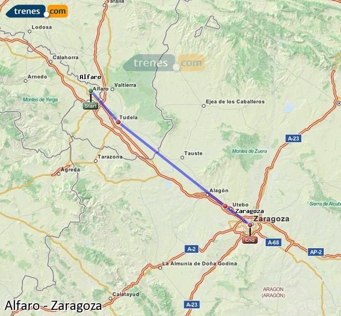 Agrandir la carte Trains Alfaro Zaragoza