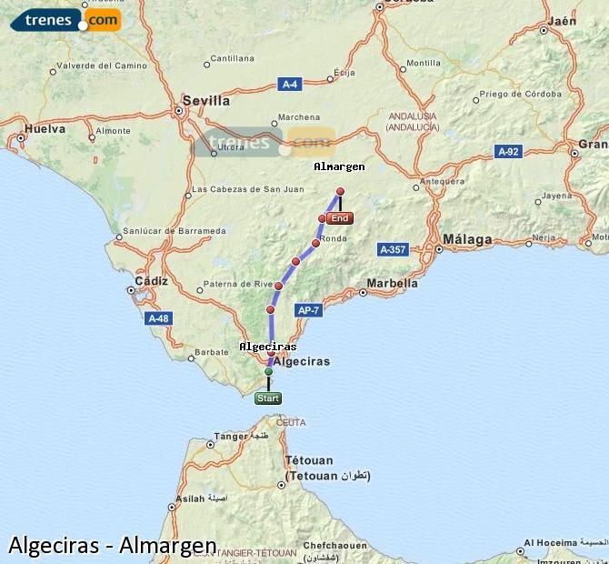 Agrandir la carte Trains Algésiras Almargen
